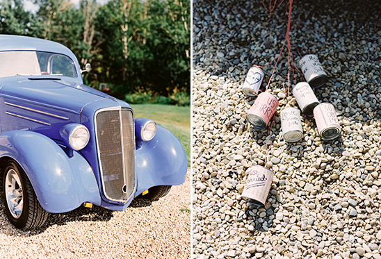 vintage car with cans