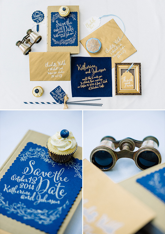 gold and navy wedding stationery