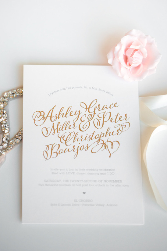 gold calligraphy wedding invites by Idieh Design @weddingchicks