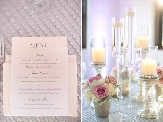 modern menu and floarting candle centerpieces @weddingchicks