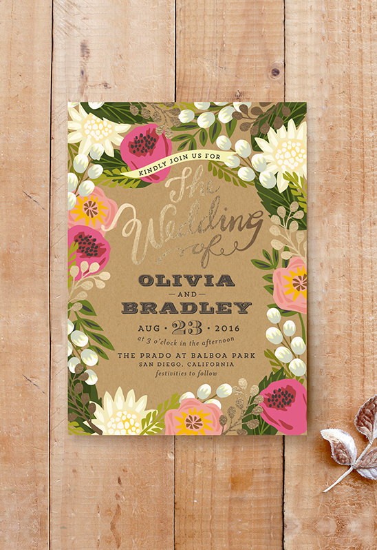 gold and pink wedding invite from Minted @weddingchicks