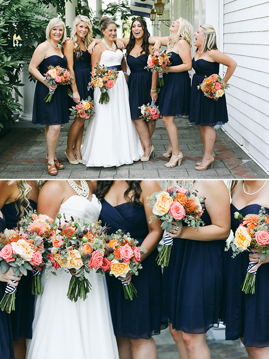 navy strapless bridesmaid dresses @weddingchicks