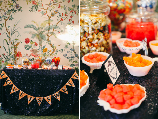 orange and navy sweets table