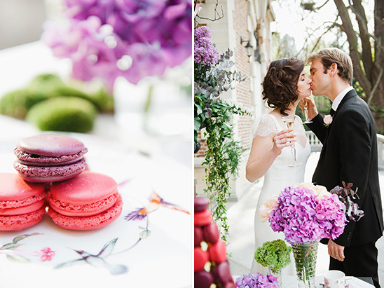 pink and purple macarons @weddingchicks