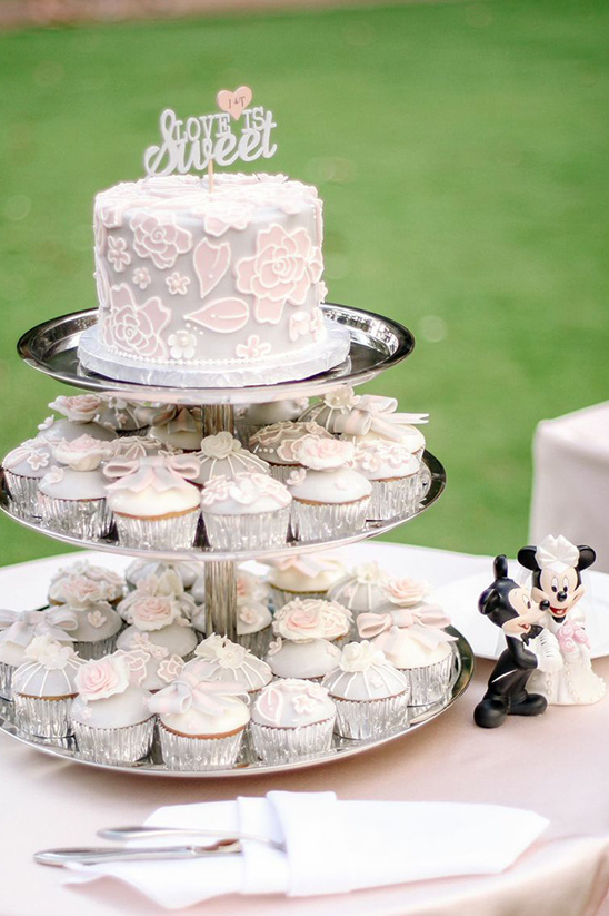 Disney wedding cake and cupcake tower