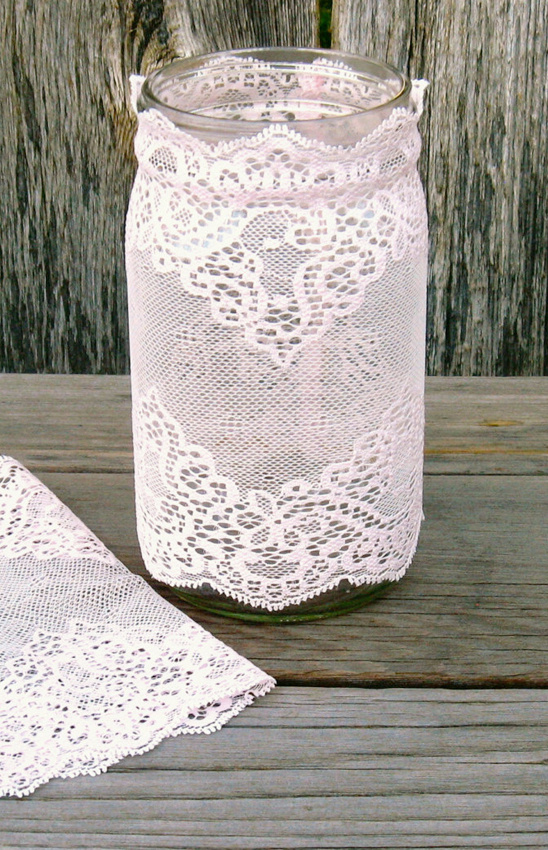 lace mason jars @weddingchicks