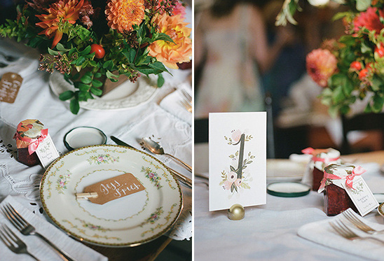 floral accented table numbers @weddingchicks