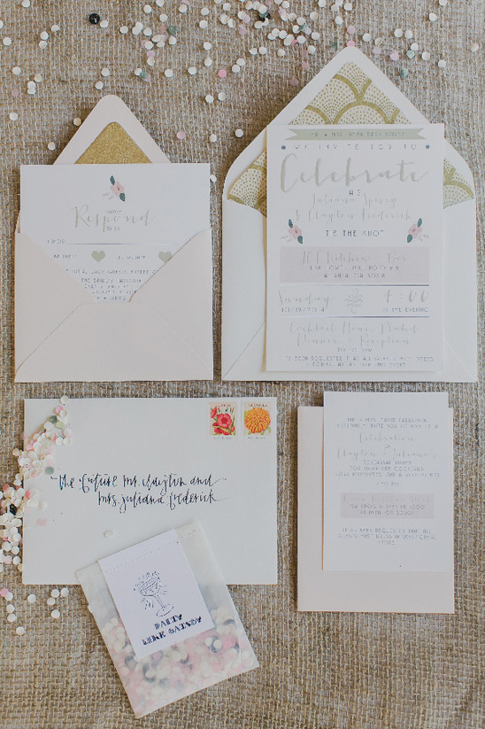 cute custom wedding invitations by Yellow Door @weddingchicks