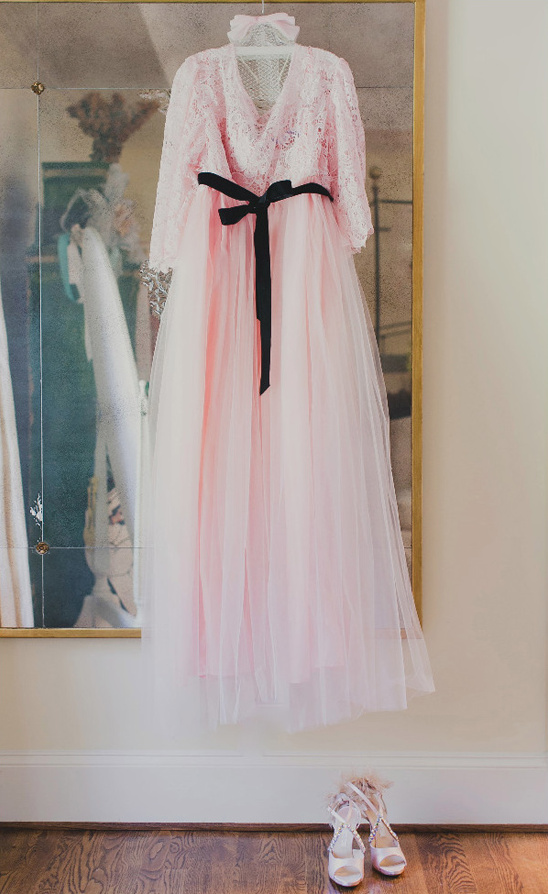 soft pink tulle and lace wedding dress from Nostalgia @weddingchicks
