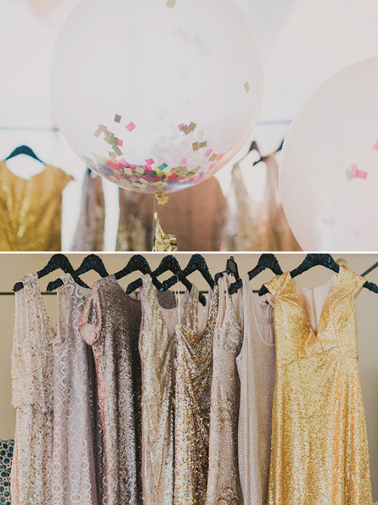 confetti balloon and glittery bridesmaid dresses @weddingchicks