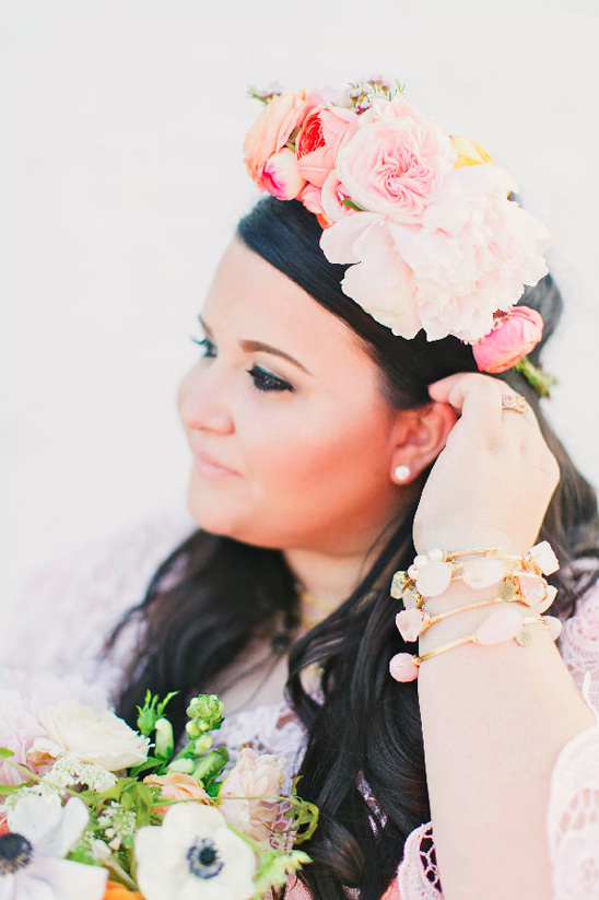beautiful bohemian bride with floral crown @weddinchicks