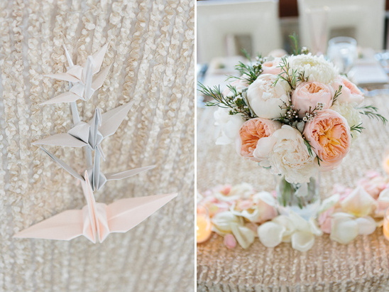 paper swan and garden rose sweetheart table @weddingchicks