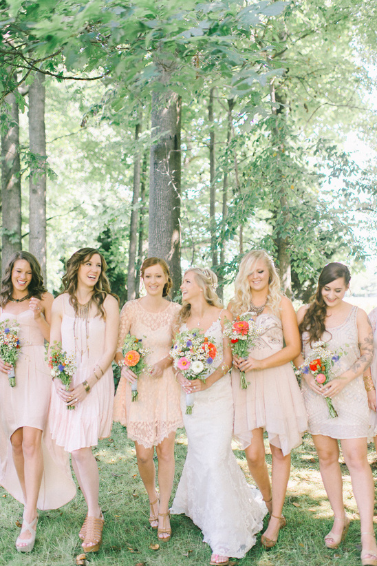 assorted champagne colored bridesmaid dresses @weddingchicks