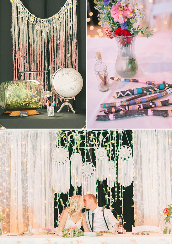 dream catcher and painted stick wedding decor @weddingchicks