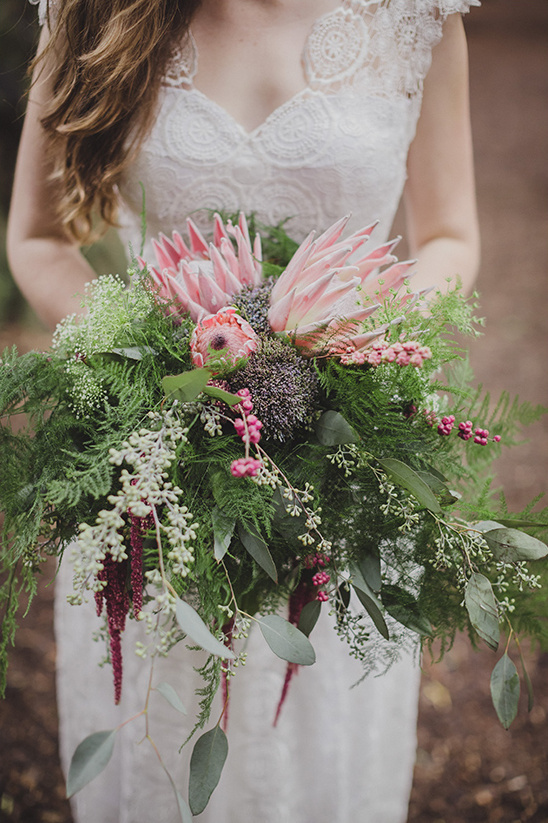 king protea and greenery bouquet @weddingchicks