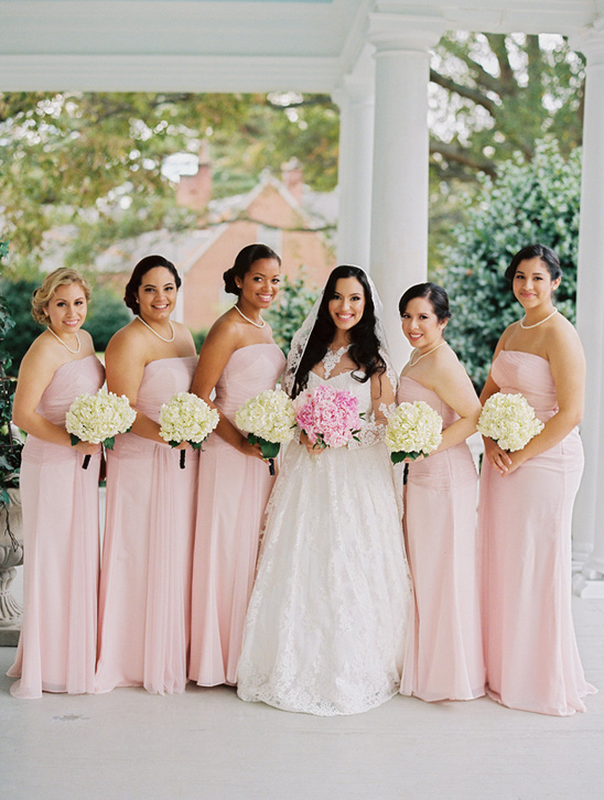 long pink bridesmaid dresses @weddingchicks