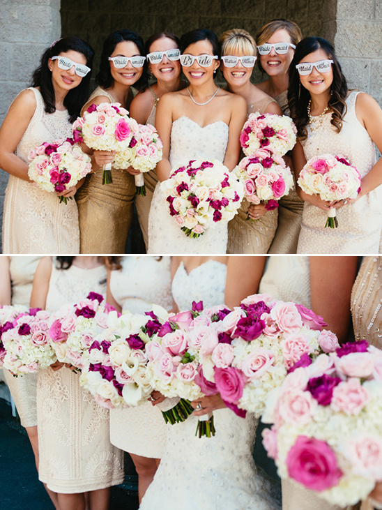 pink and white bouquets @weddingchicks