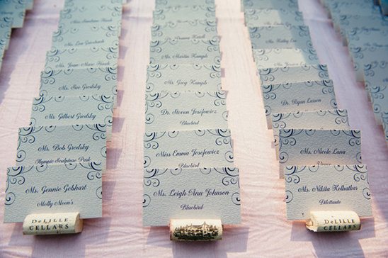 wine cork escort cards @weddingchicks