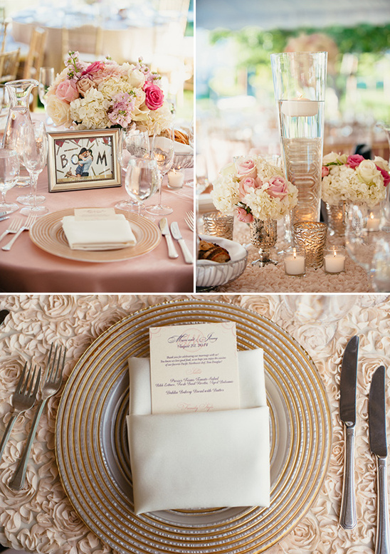 glass and gold table accents @weddingchicks
