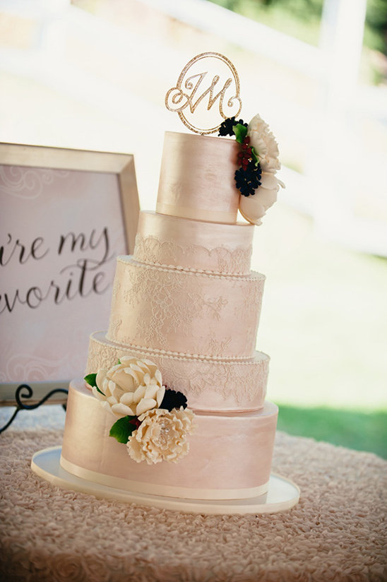 shimmering wedding cake with lace overlay @weddingchicks