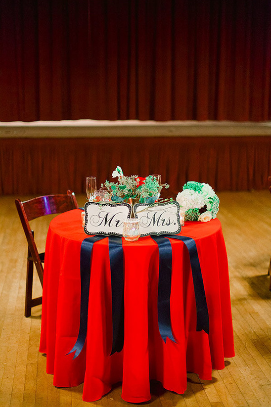 blue and red sweethearts table @weddingchicks