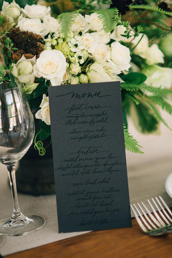 black on black spot varnish wedding menu @weddingchicks