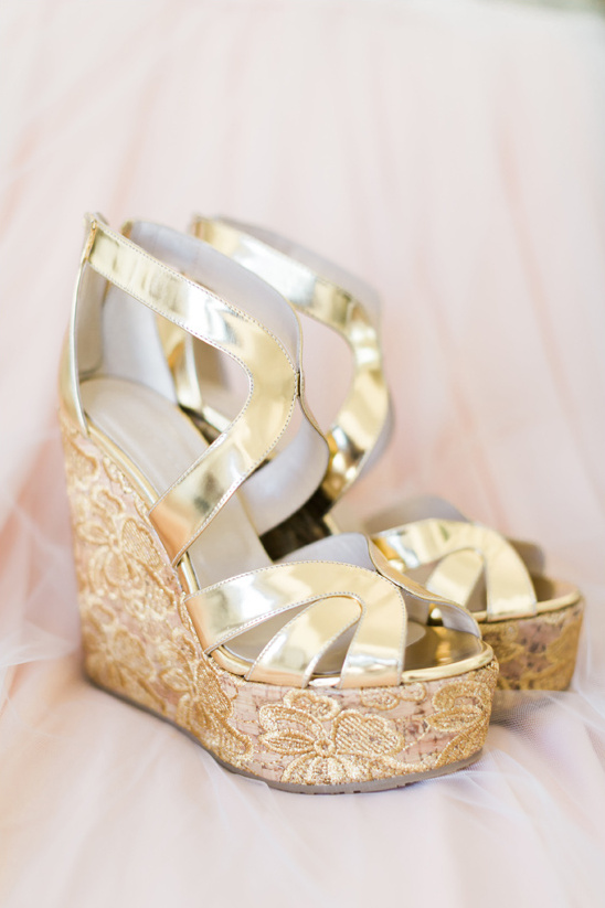 Gold Wedge Wedding Shoes