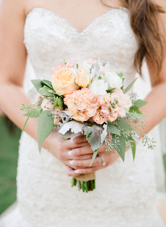 small peach and white bouquet