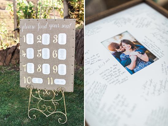 seating assignment and guest book picture frame @weddingchicks