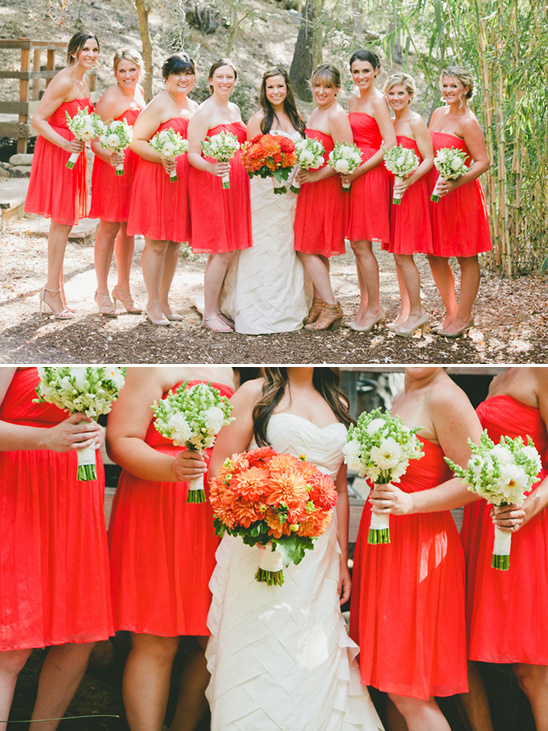 red bridesmaid dresses @weddingchicks