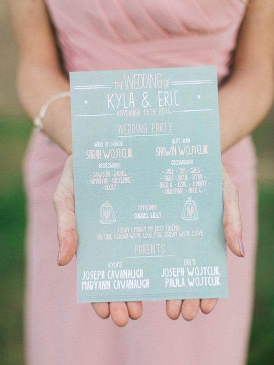 grey and pink wedding program @weddingchicks