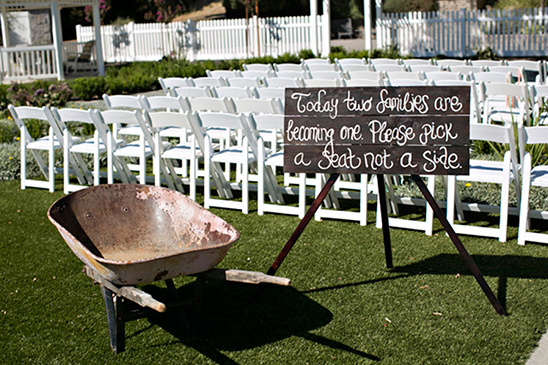 pick a seat not a side sign @weddingchicks