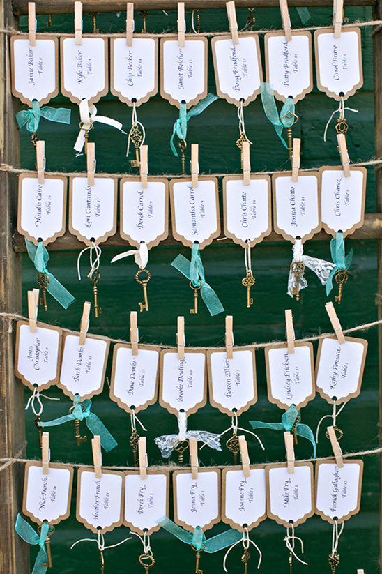 escort cards with key charms @weddingchicks