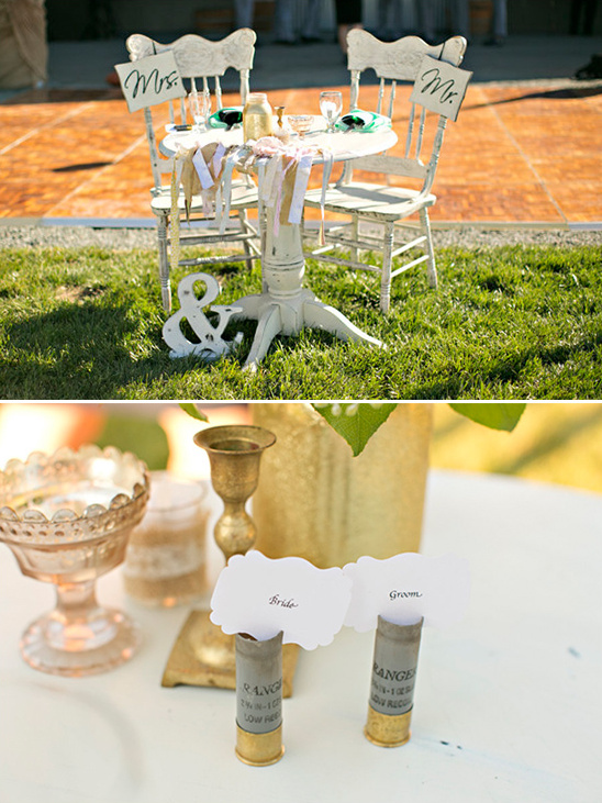 sweetheart table with bullet casing place cards @weddingchicks