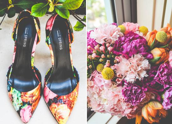 funky wedding shoes and bright bouquet @weddingchicks