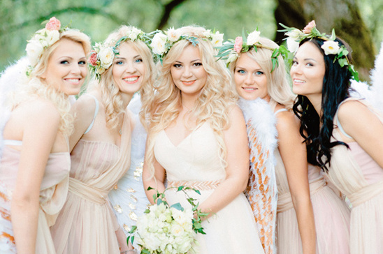 flower halo bridesmaids @weddingchicks