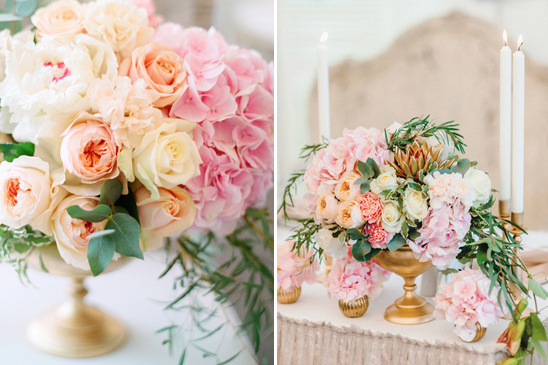 soft pink and gold floral arrangements @weddingchicks