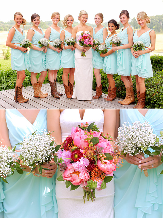 mint dresses with babys breath bouquets