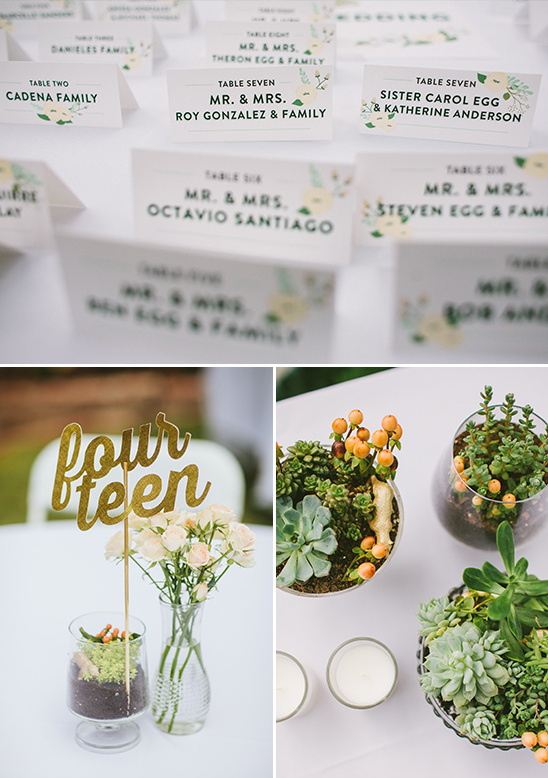 organic escort card and table decor @weddingchicks
