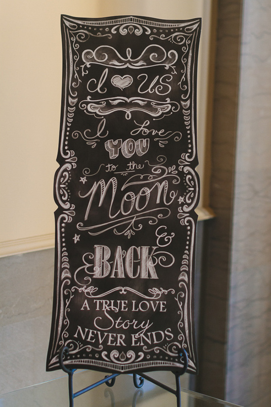 Love you to the moon and back chalkboard sign @weddingchicks