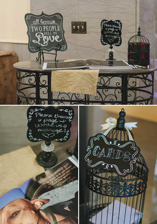 guest book table and card bird cage @weddingchicks