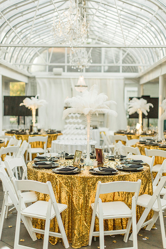 glamorous Gatsby styled reception in gold and black @weddingchicks