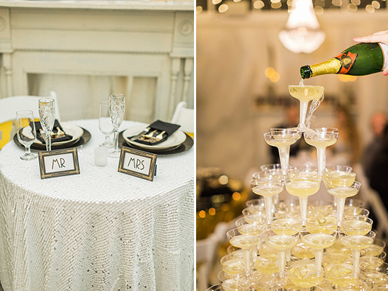 mr and mrs table and chapagne tower @weddingchicks