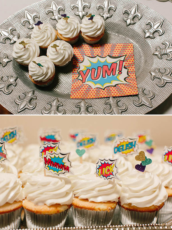 comic book inspired cupcakes @weddingchicks
