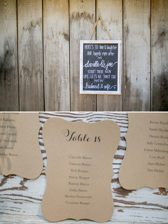 chalkboard wedding sign and brown paper seating assignments @weddingchicks
