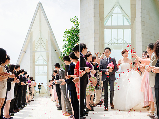 newlyweds flower petal exit @weddingchicks