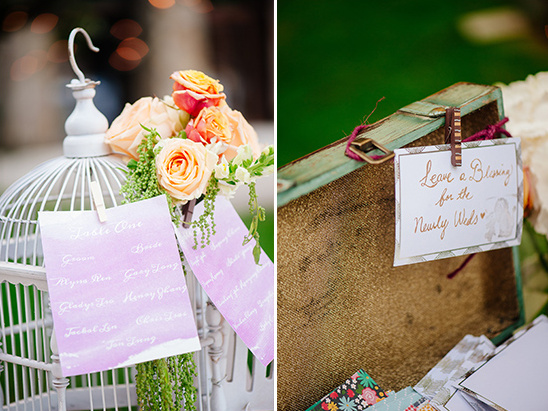 seating assignment bird cage and written blessings suitcase @weddingchicks