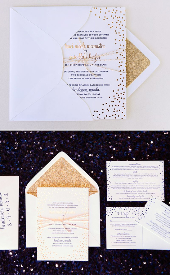 gold wedding invites @weddingchicks