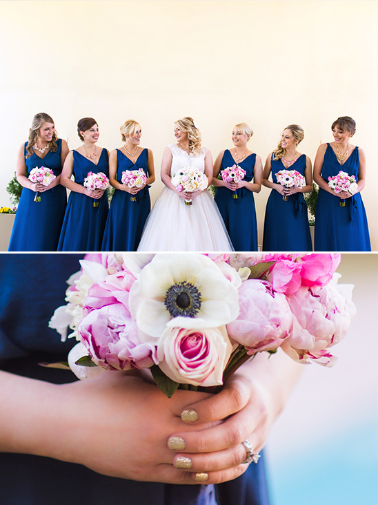 blue bridesmaid dresses with gold nails @weddingchicks