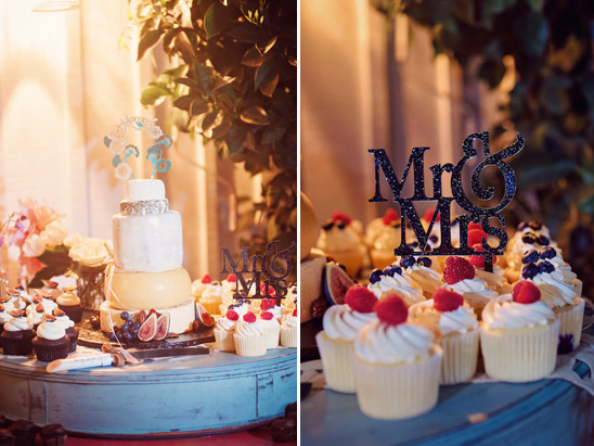 wedding dessert table with cupcakes and cheese tower cake @weddingchicks